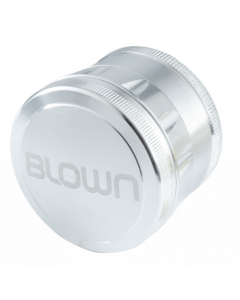 BLOWN Brand Aluminum Grinder- 55mm, 4 Piece, Silver-Curved