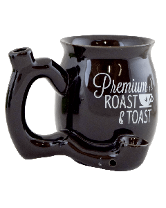 "Small ""Roast and Toast"" pipe mug- Black"