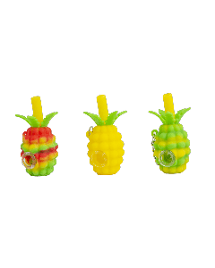 Silicone Handpipe w/ Keychain & Glass Bowl- Pineapple