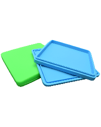 "6 1/4"" x 6 1/4"" silicone tray w/ top"