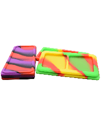Silicone Dual Dab Tray w/ Lid Mixed Colors