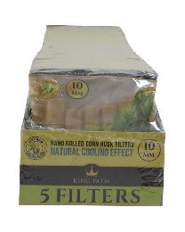 King Palm 10mm Corn Husk Filters Display (5 filters/pack, 25 packs/display)