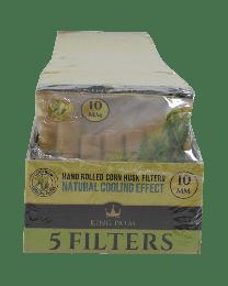 King Palm 10mm Corn Husk Filters Display (5 filters/pack, 25 packs/display)