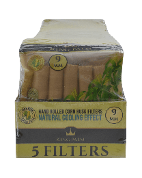 King Palm 9mm Corn Husk Filters Display (5 filters/pack, 25 packs/display)