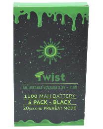 Ooze Batteries-5 Pack Twist 1100 mah Black