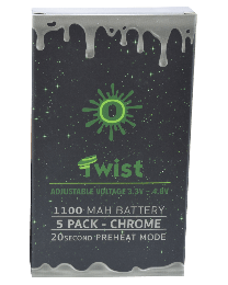 Ooze Batteries-5 Pack Twist 1100 mah Chrome