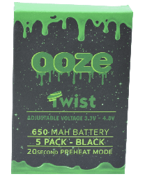 Ooze Batteries-5 Pack Twist 650 mah Black