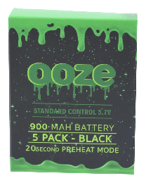 Ooze Batteries-5 Pack 900 mah Black