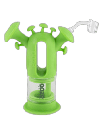 Ooze Trip Pipe Silicone Glass Water Bubbler - Green - W/ Banger & Bowl