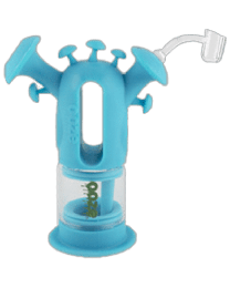 Ooze Trip Pipe Silicone Glass Water Bubbler - Teal - W/ Banger & Bowl